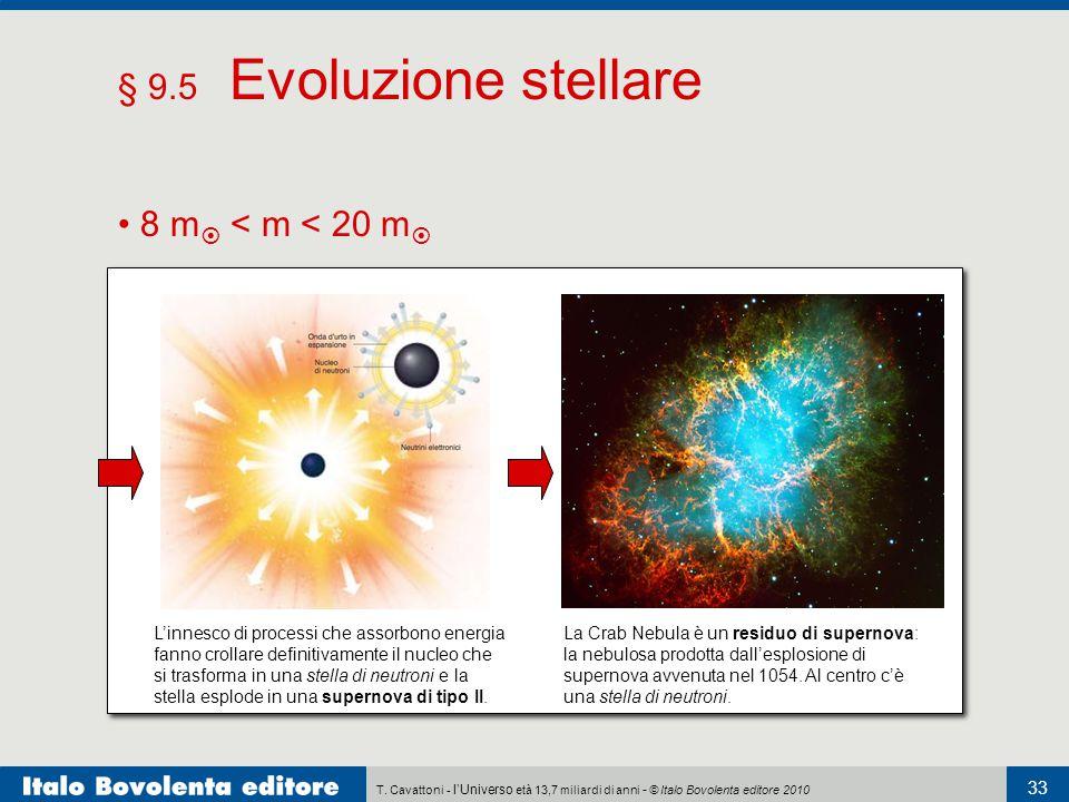 § 9.5 Evoluzione stellare • 8 m < m < 20 m