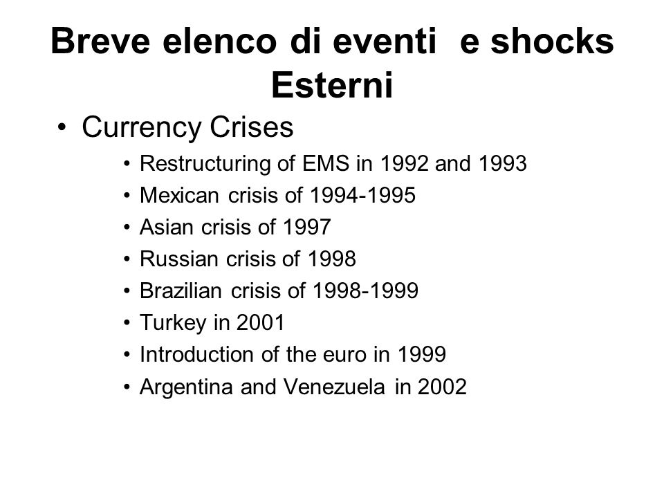 Breve elenco di eventi e shocks Esterni