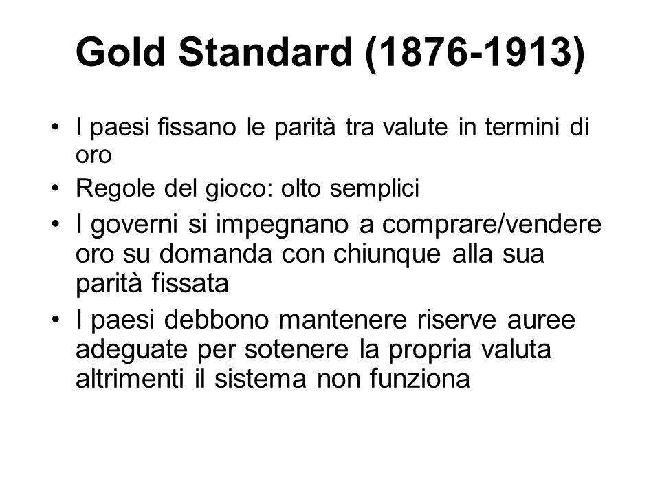 Gold Standard (1876-1913) I paesi fissano le parità tra valute in termini di oro. Regole del gioco: olto semplici.