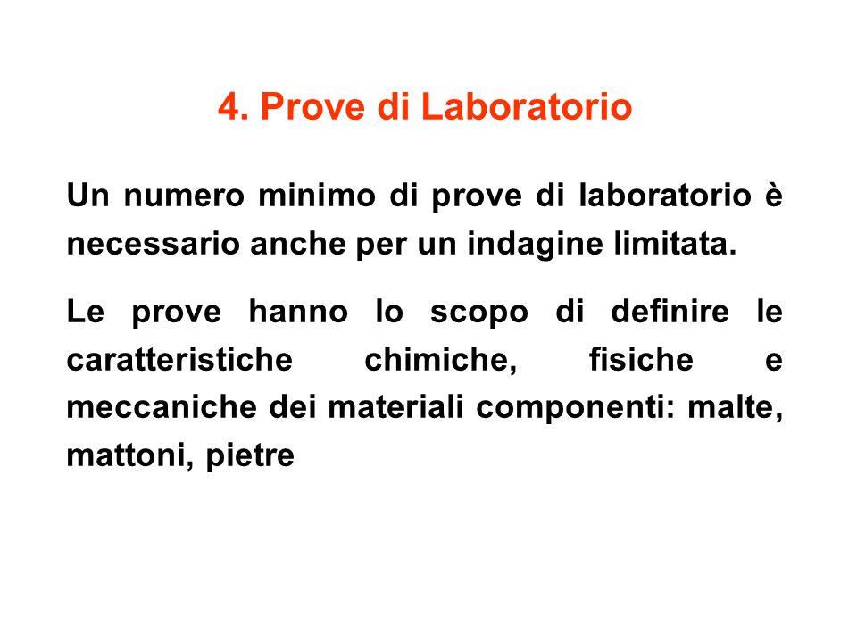 4. Prove di Laboratorio Un numero minimo di prove di laboratorio è necessario anche per un indagine limitata.