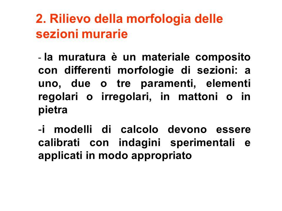 2. Rilievo della morfologia delle sezioni murarie