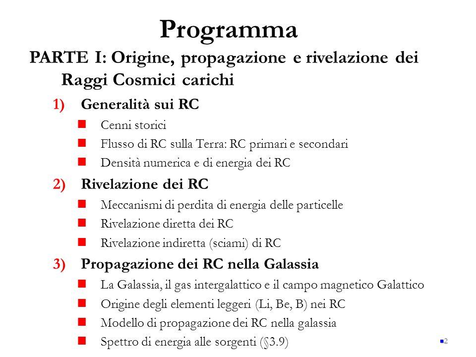 Programma PARTE I: Origine, propagazione e rivelazione dei Raggi Cosmici carichi. Generalità sui RC.