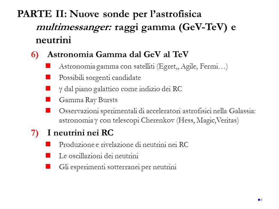 PARTE II: Nuove sonde per l'astrofisica multimessanger: raggi gamma (GeV-TeV) e neutrini