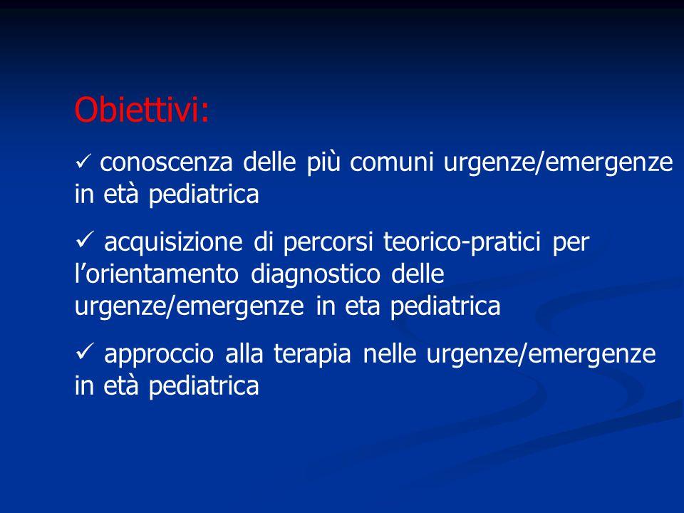 Obiettivi: conoscenza delle più comuni urgenze/emergenze in età pediatrica.