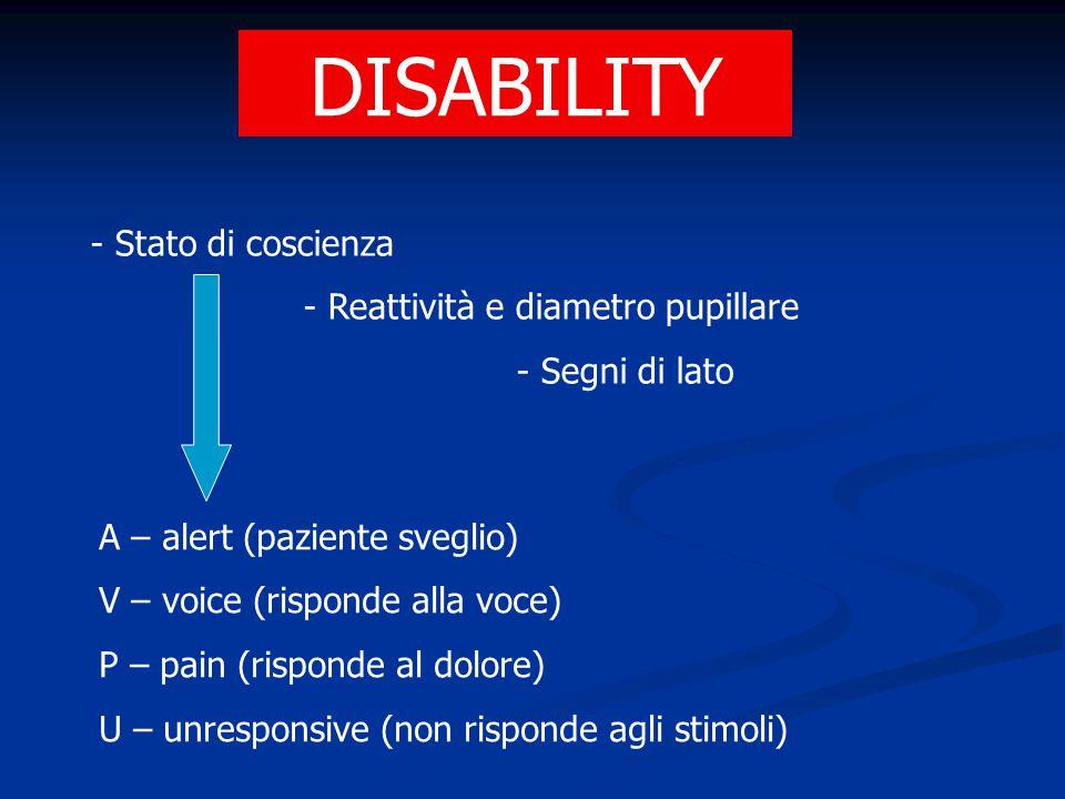 DISABILITY - Stato di coscienza - Reattività e diametro pupillare