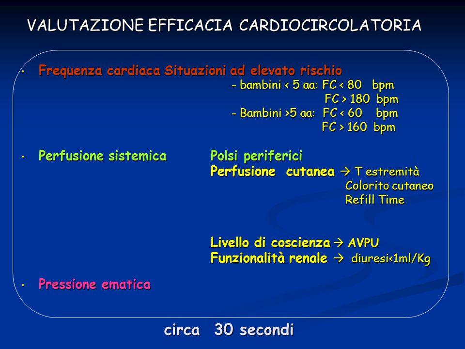 VALUTAZIONE EFFICACIA CARDIOCIRCOLATORIA
