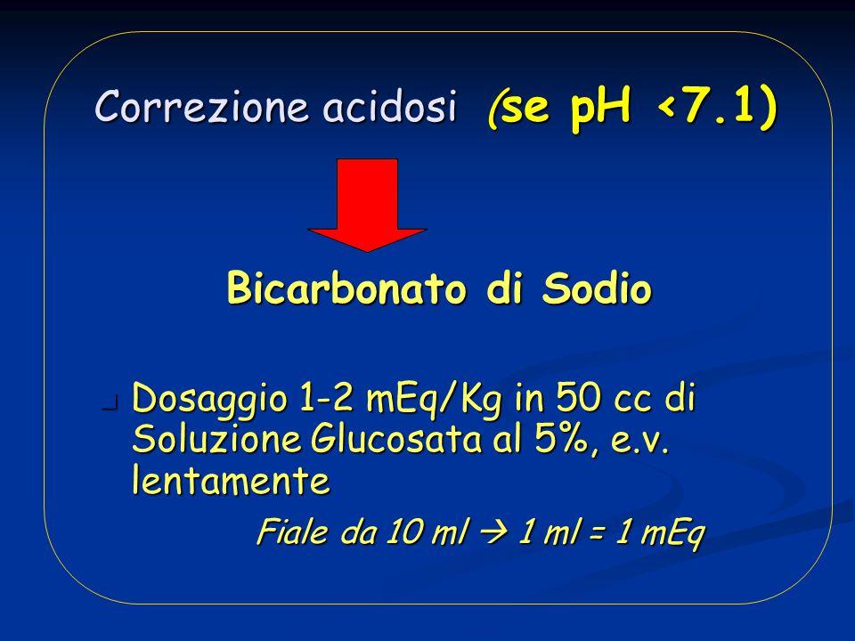 Correzione acidosi (se pH <7.1)