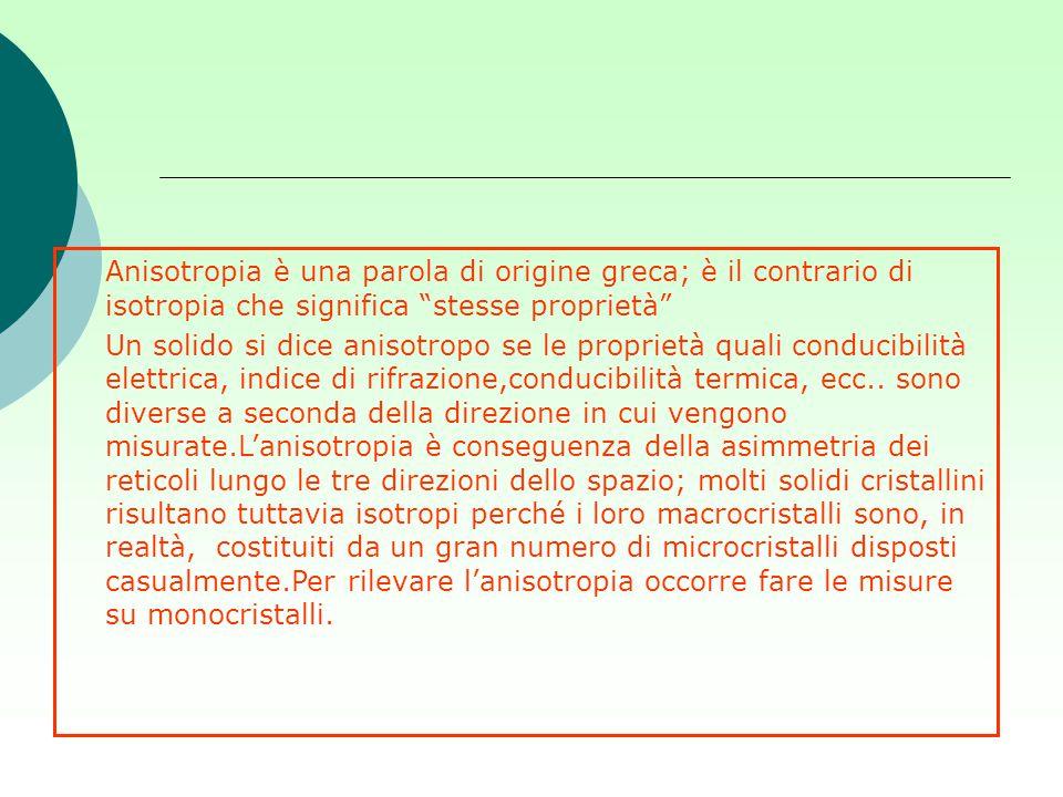 Anisotropia è una parola di origine greca; è il contrario di isotropia che significa stesse proprietà