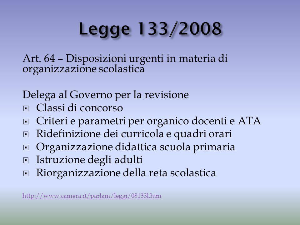 Legge 133/2008 Art. 64 – Disposizioni urgenti in materia di organizzazione scolastica. Delega al Governo per la revisione.
