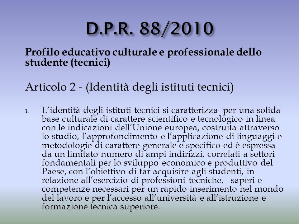 D.P.R. 88/2010 Articolo 2 - (Identità degli istituti tecnici)