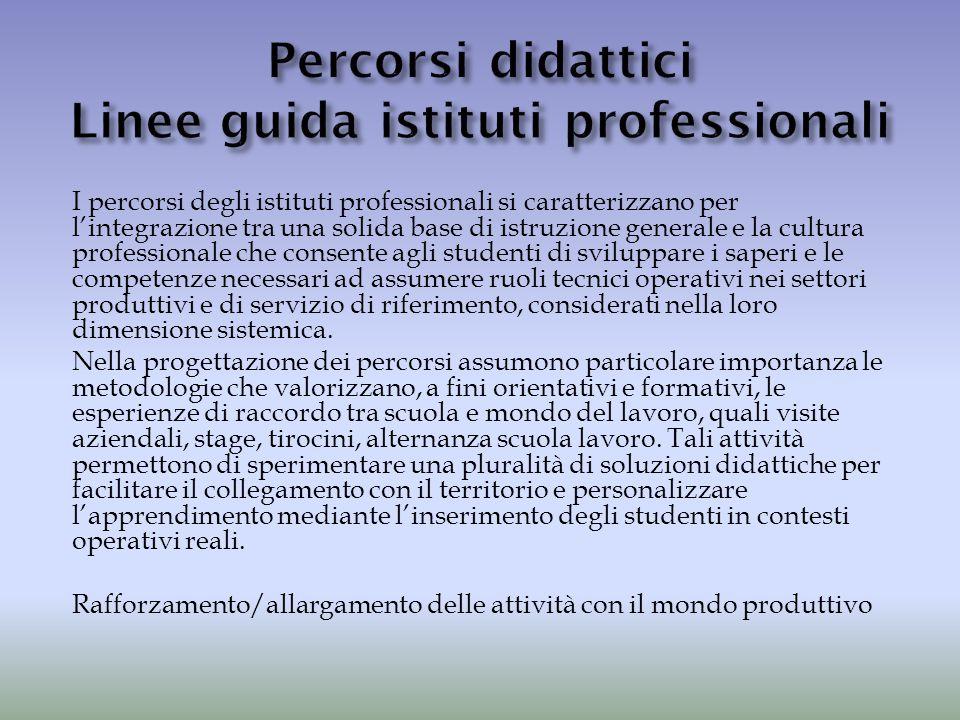 Percorsi didattici Linee guida istituti professionali