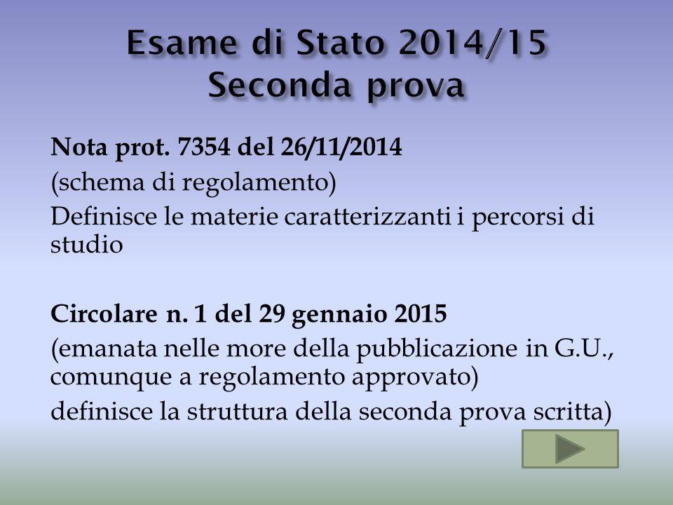 Esame di Stato 2014/15 Seconda prova