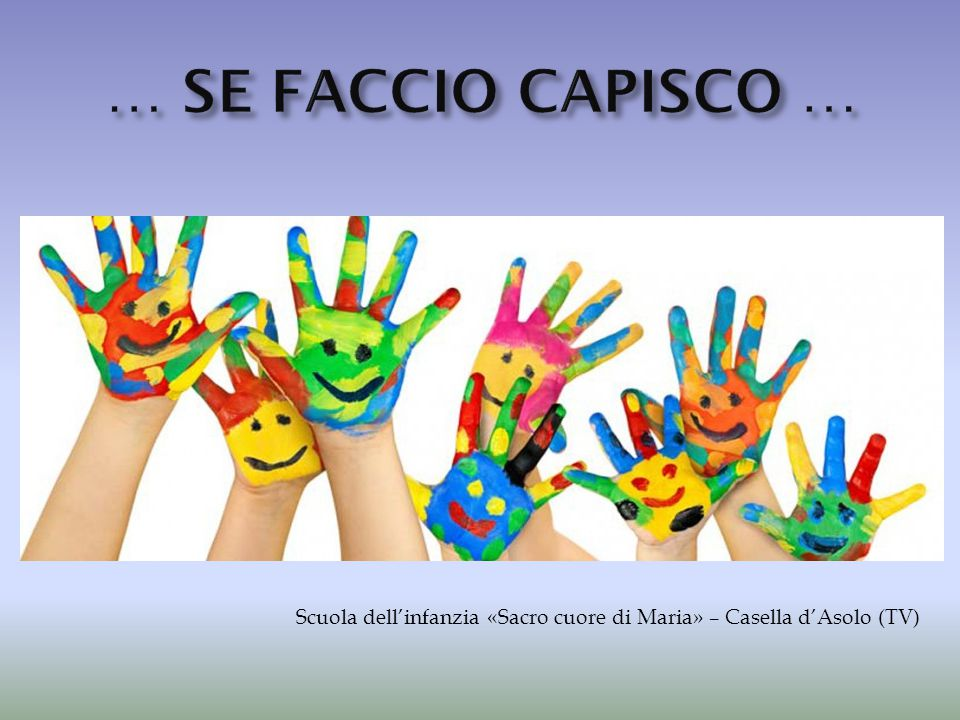 … SE FACCIO CAPISCO … Scuola dell'infanzia «Sacro cuore di Maria» – Casella d'Asolo (TV)