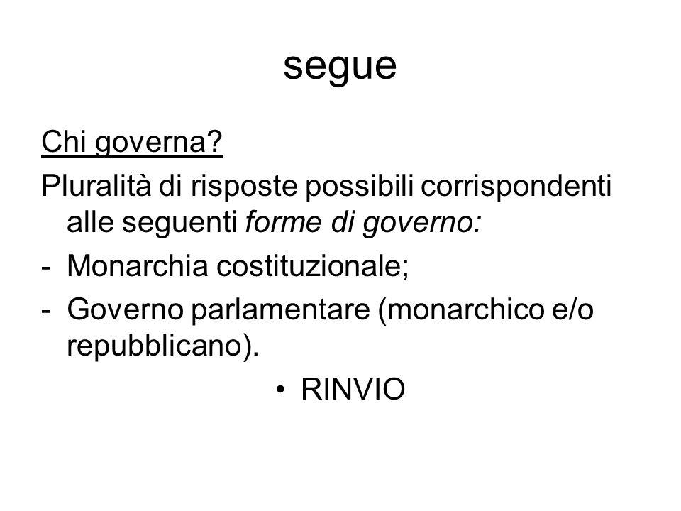 segue Chi governa Pluralità di risposte possibili corrispondenti alle seguenti forme di governo: Monarchia costituzionale;