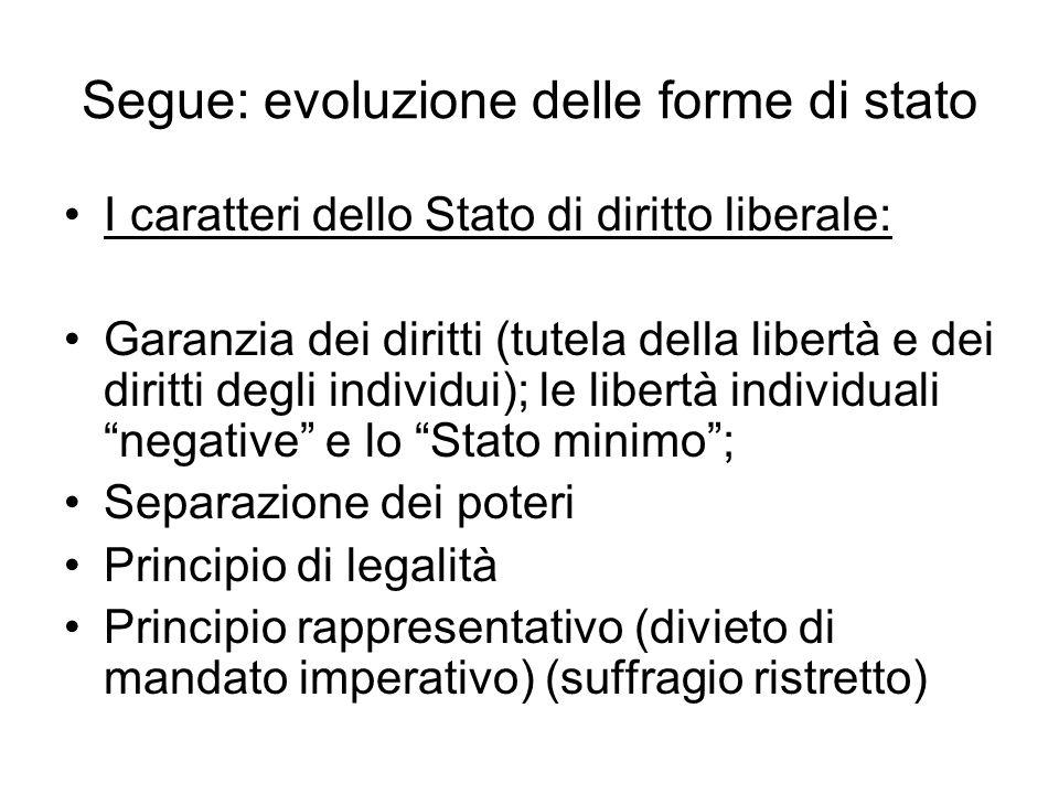 Segue: evoluzione delle forme di stato