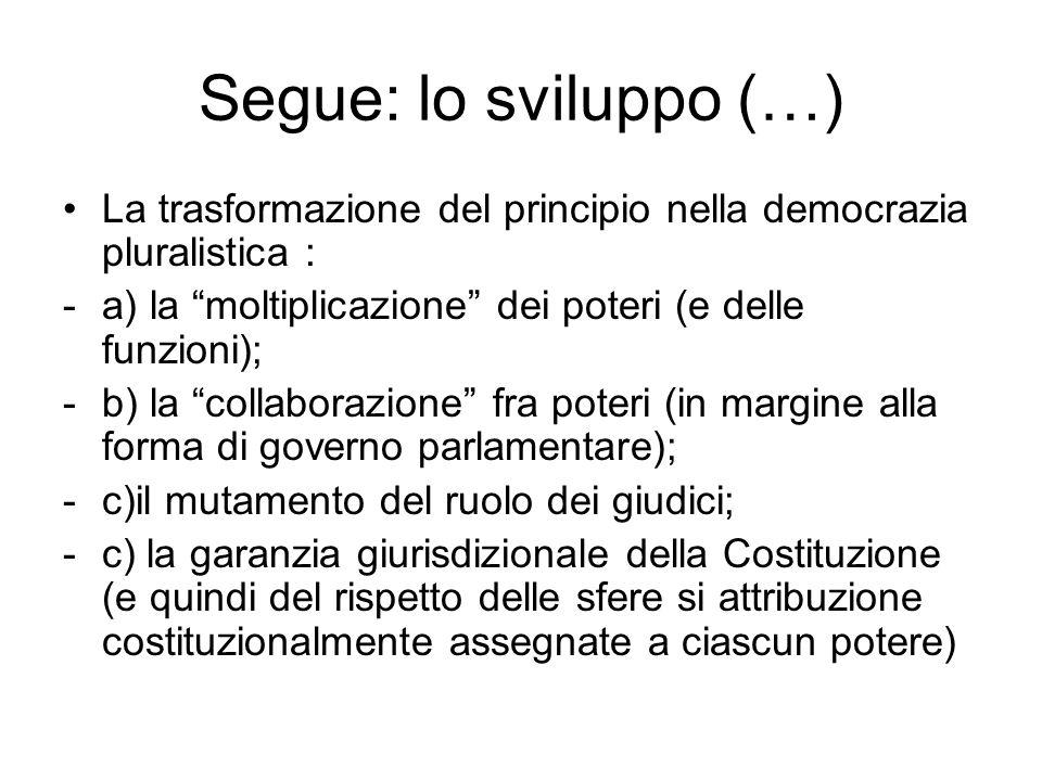 Segue: lo sviluppo (…) La trasformazione del principio nella democrazia pluralistica : a) la moltiplicazione dei poteri (e delle funzioni);