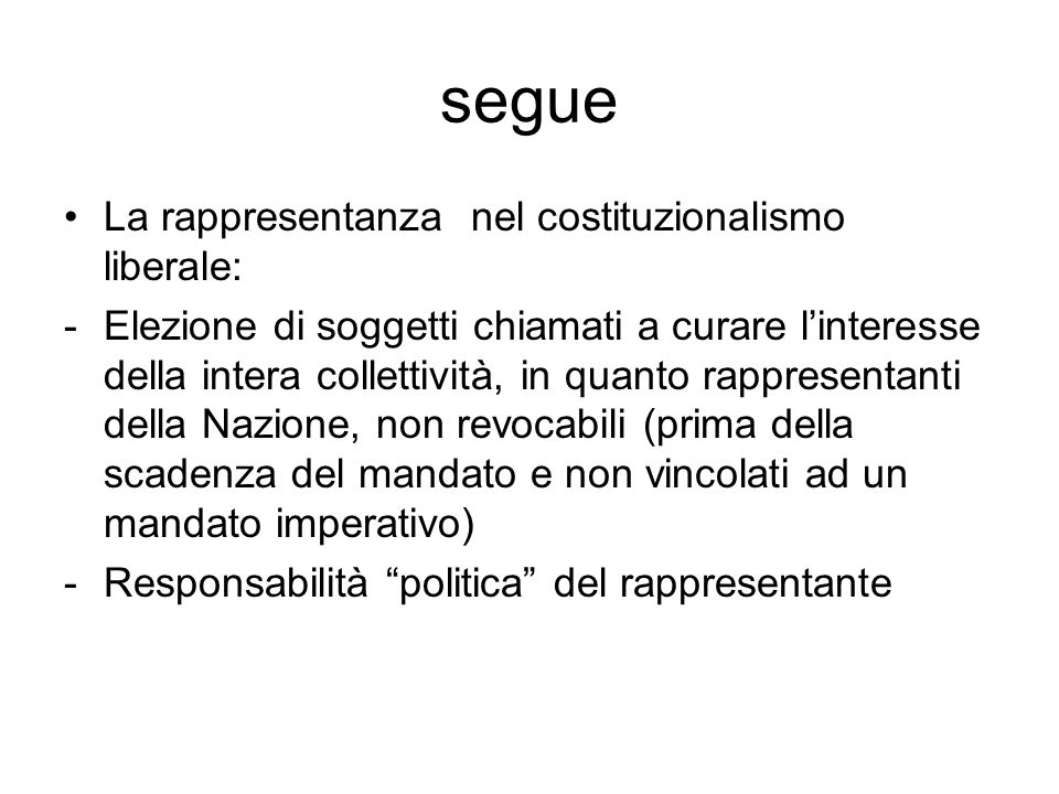 segue La rappresentanza nel costituzionalismo liberale: