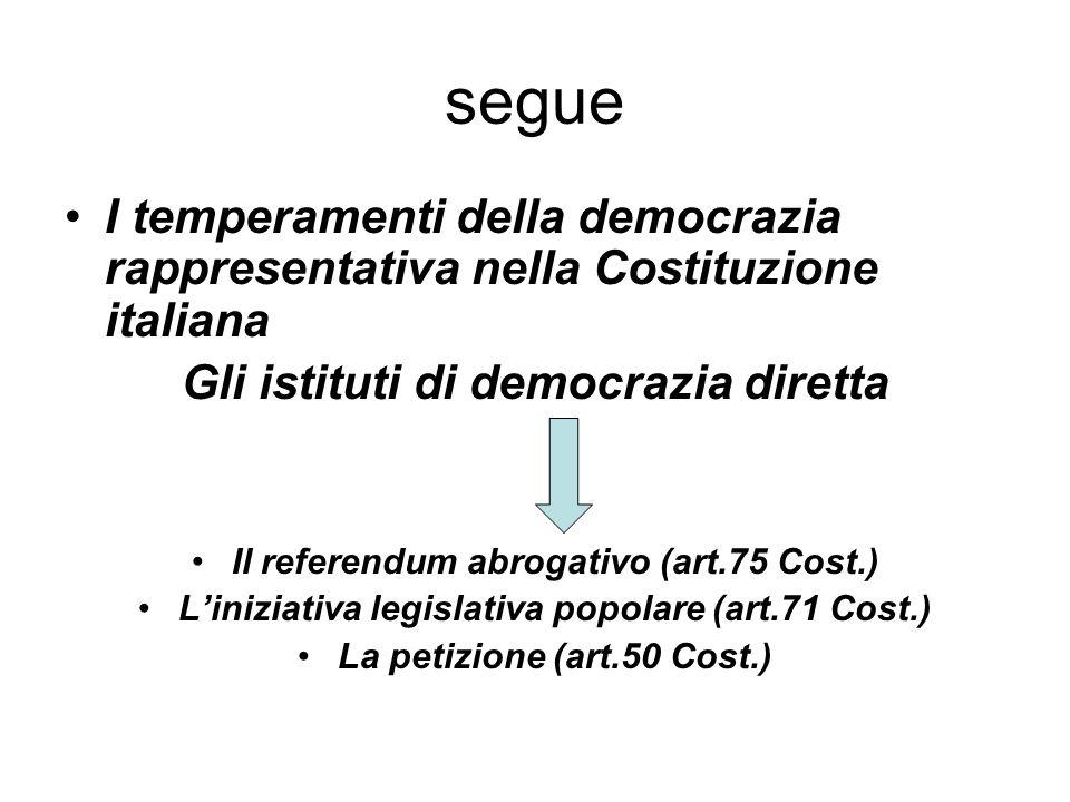 segue I temperamenti della democrazia rappresentativa nella Costituzione italiana. Gli istituti di democrazia diretta.