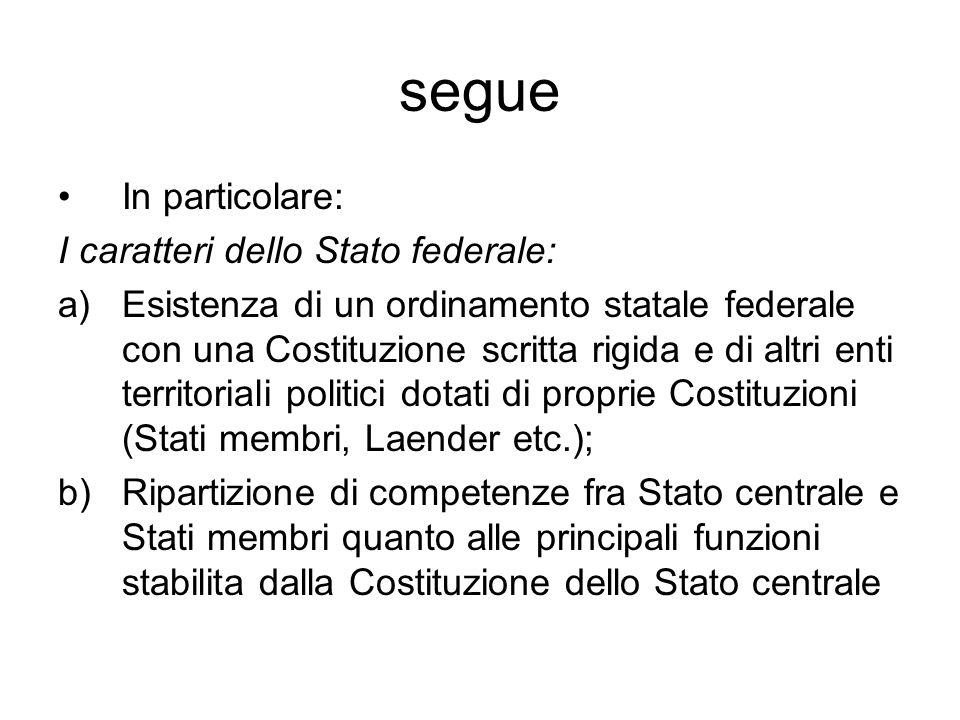 segue In particolare: I caratteri dello Stato federale: