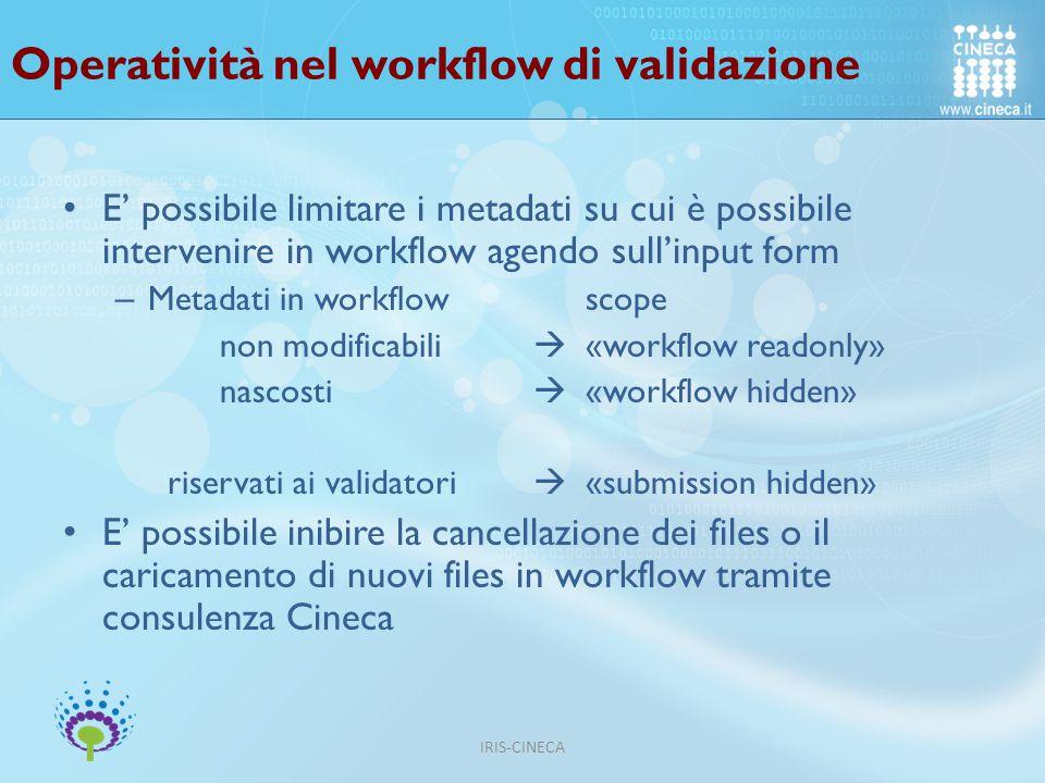 Operatività nel workflow di validazione