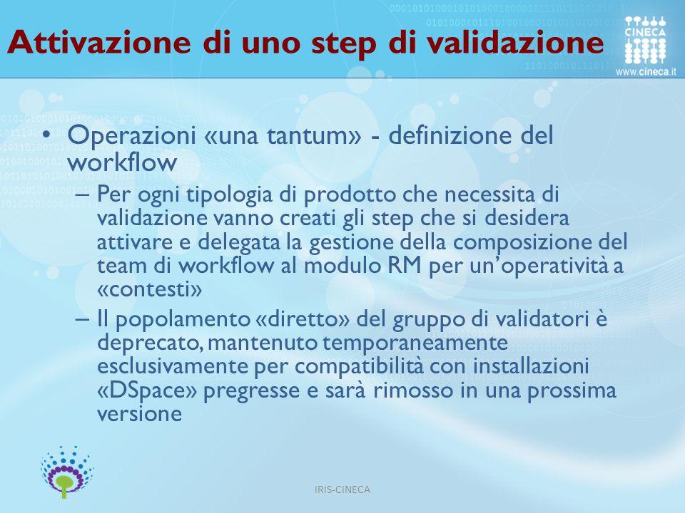 Attivazione di uno step di validazione
