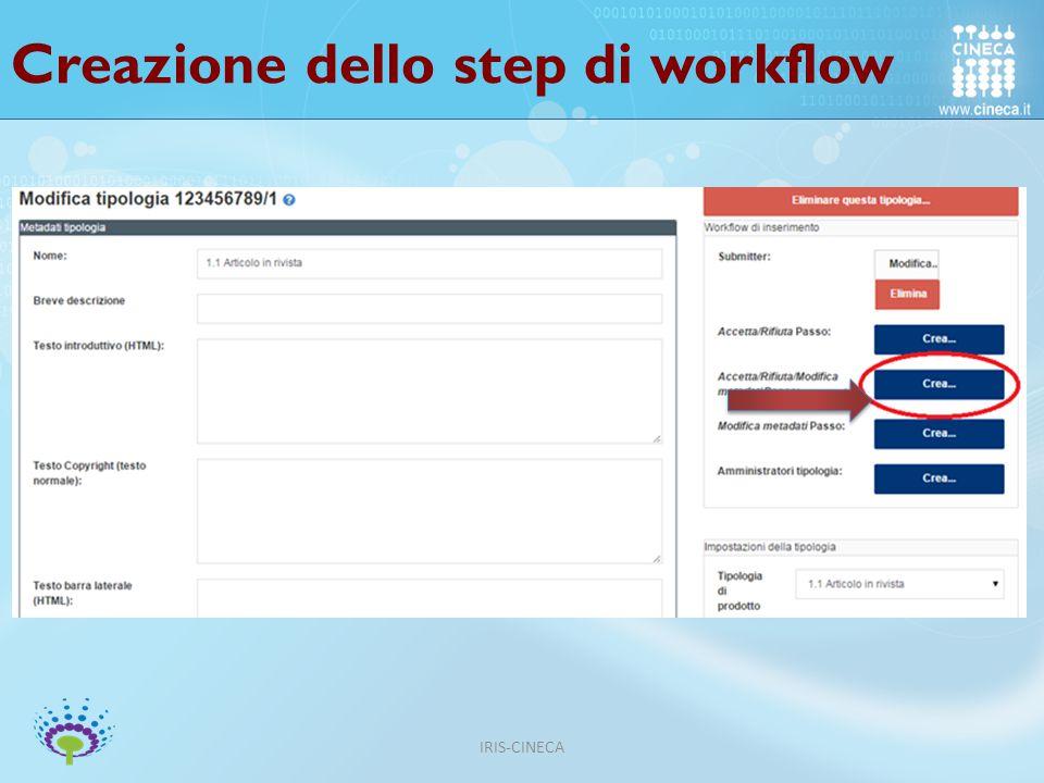Creazione dello step di workflow