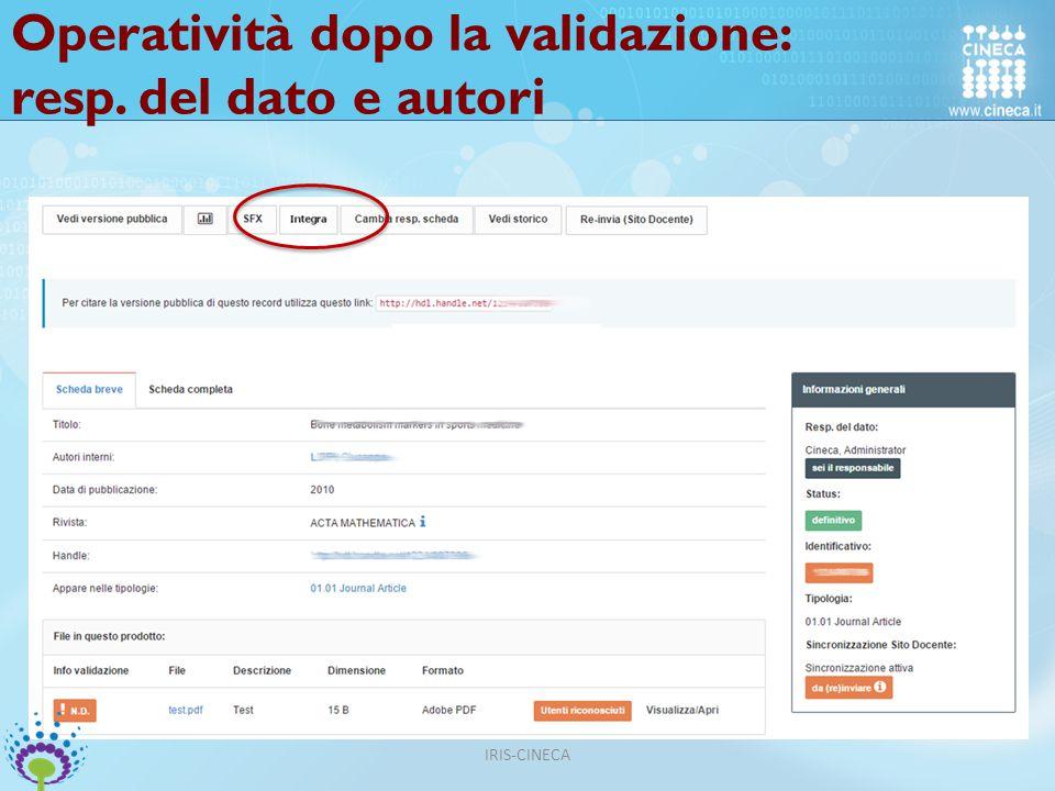 Operatività dopo la validazione: resp. del dato e autori