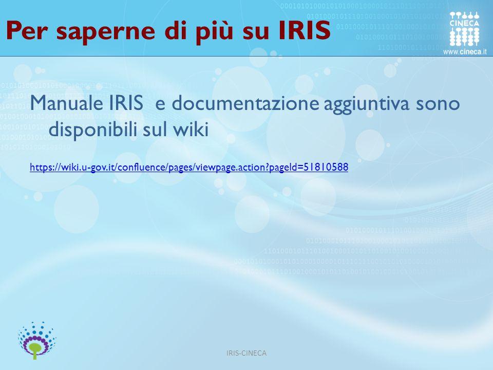 Per saperne di più su IRIS