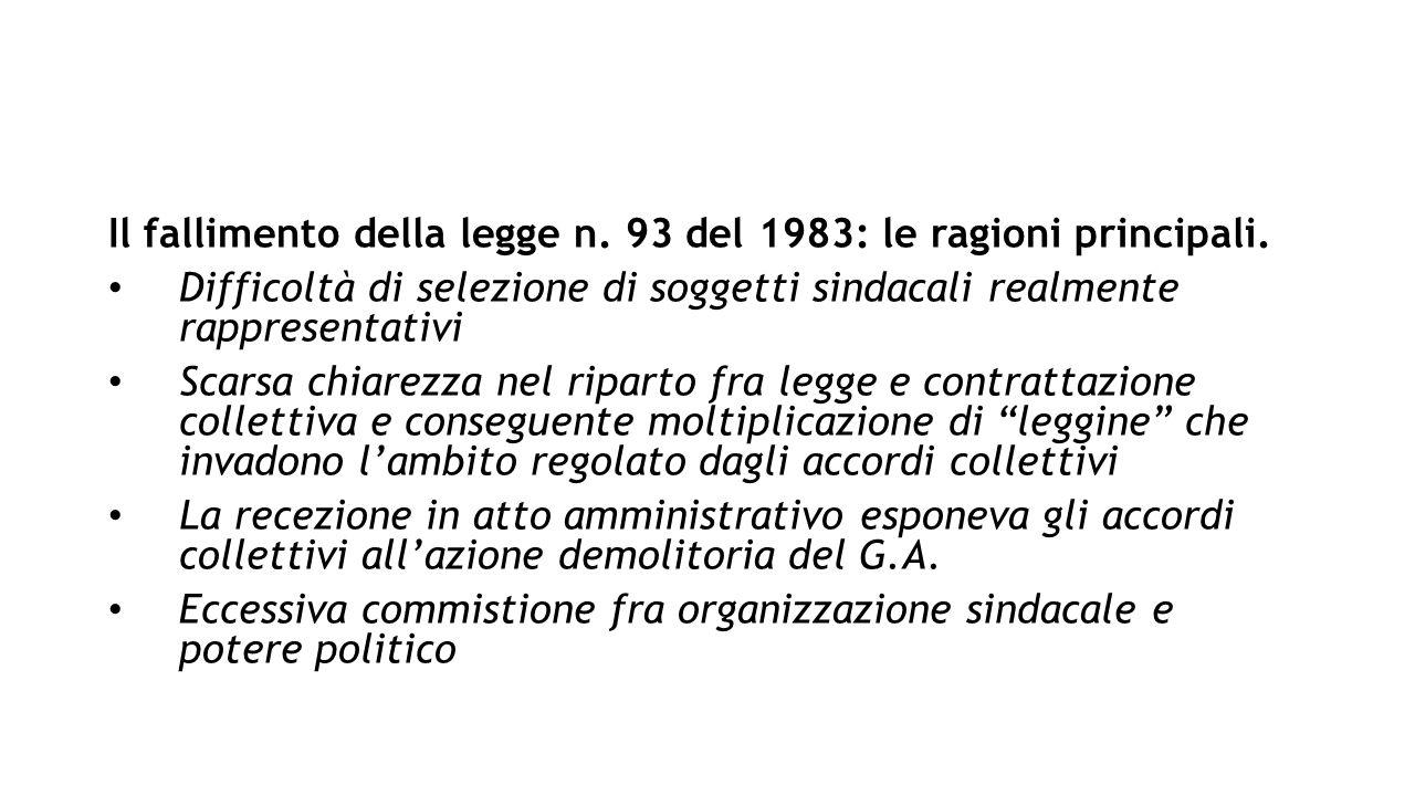 Il fallimento della legge n. 93 del 1983: le ragioni principali.