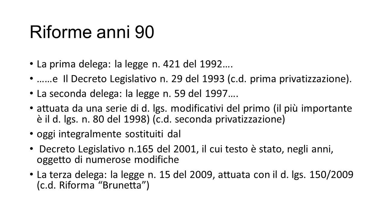 Riforme anni 90 La prima delega: la legge n. 421 del 1992….