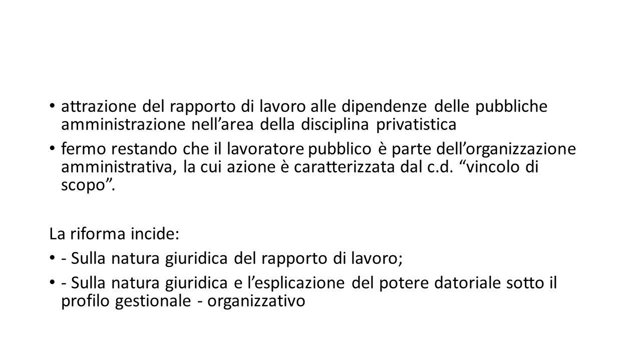 attrazione del rapporto di lavoro alle dipendenze delle pubbliche amministrazione nell'area della disciplina privatistica