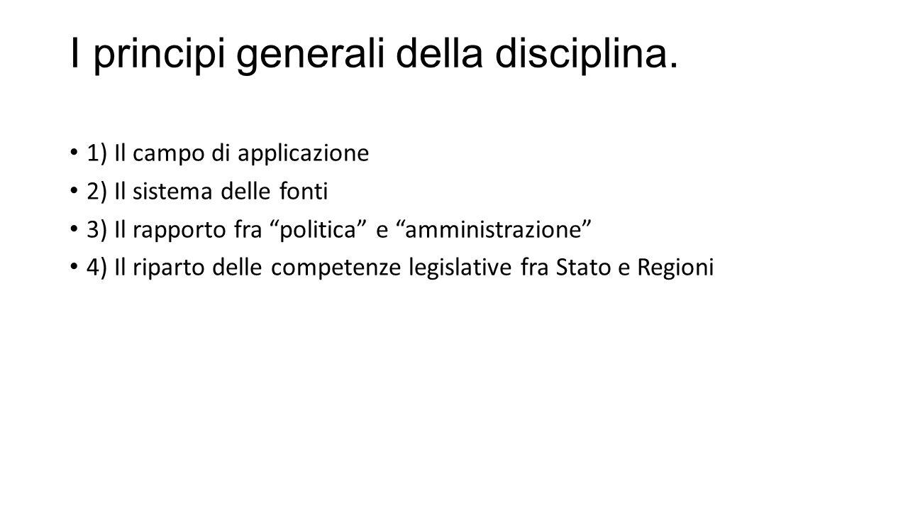 I principi generali della disciplina.