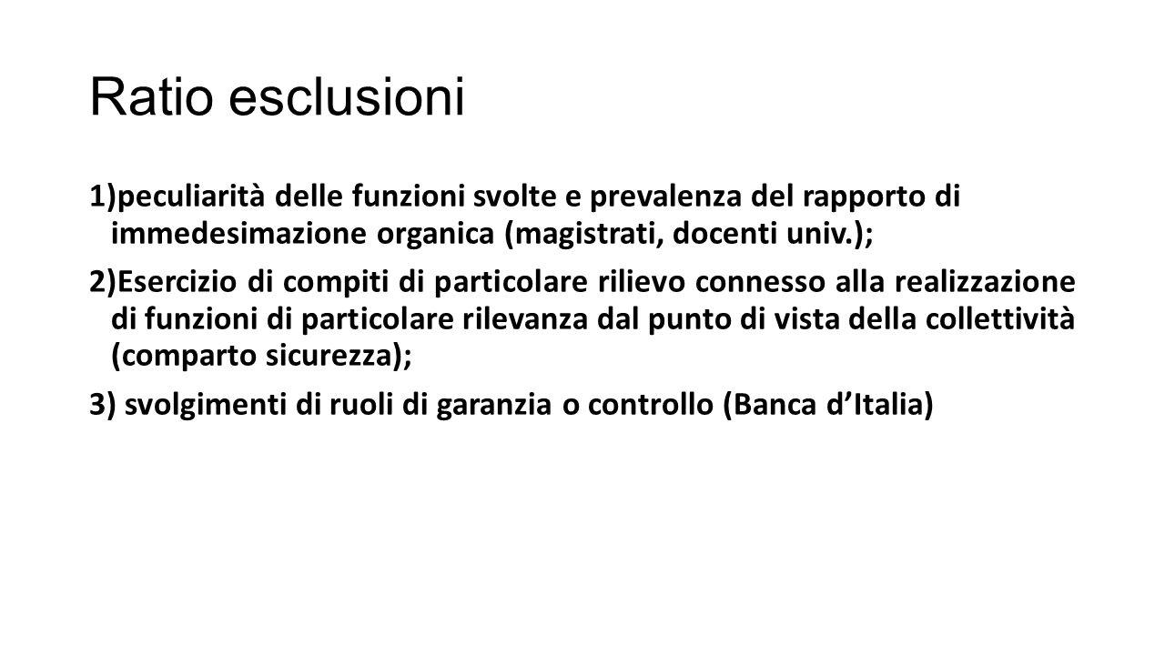 Ratio esclusioni peculiarità delle funzioni svolte e prevalenza del rapporto di immedesimazione organica (magistrati, docenti univ.);