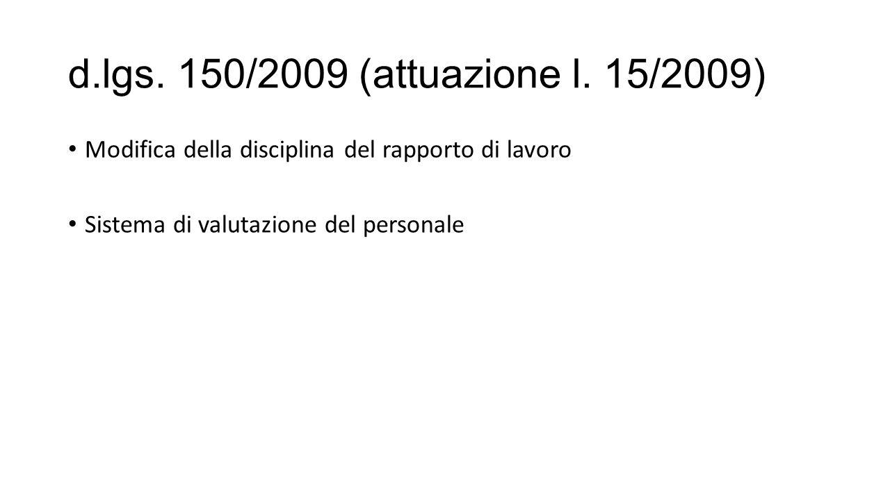d.lgs. 150/2009 (attuazione l. 15/2009) Modifica della disciplina del rapporto di lavoro.