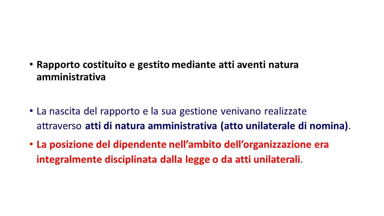 Rapporto costituito e gestito mediante atti aventi natura amministrativa