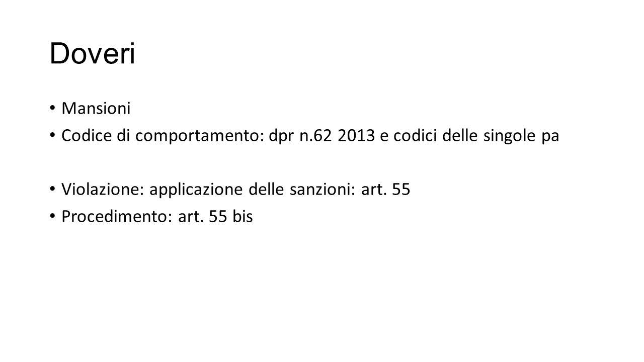Doveri Mansioni. Codice di comportamento: dpr n.62 2013 e codici delle singole pa. Violazione: applicazione delle sanzioni: art. 55.
