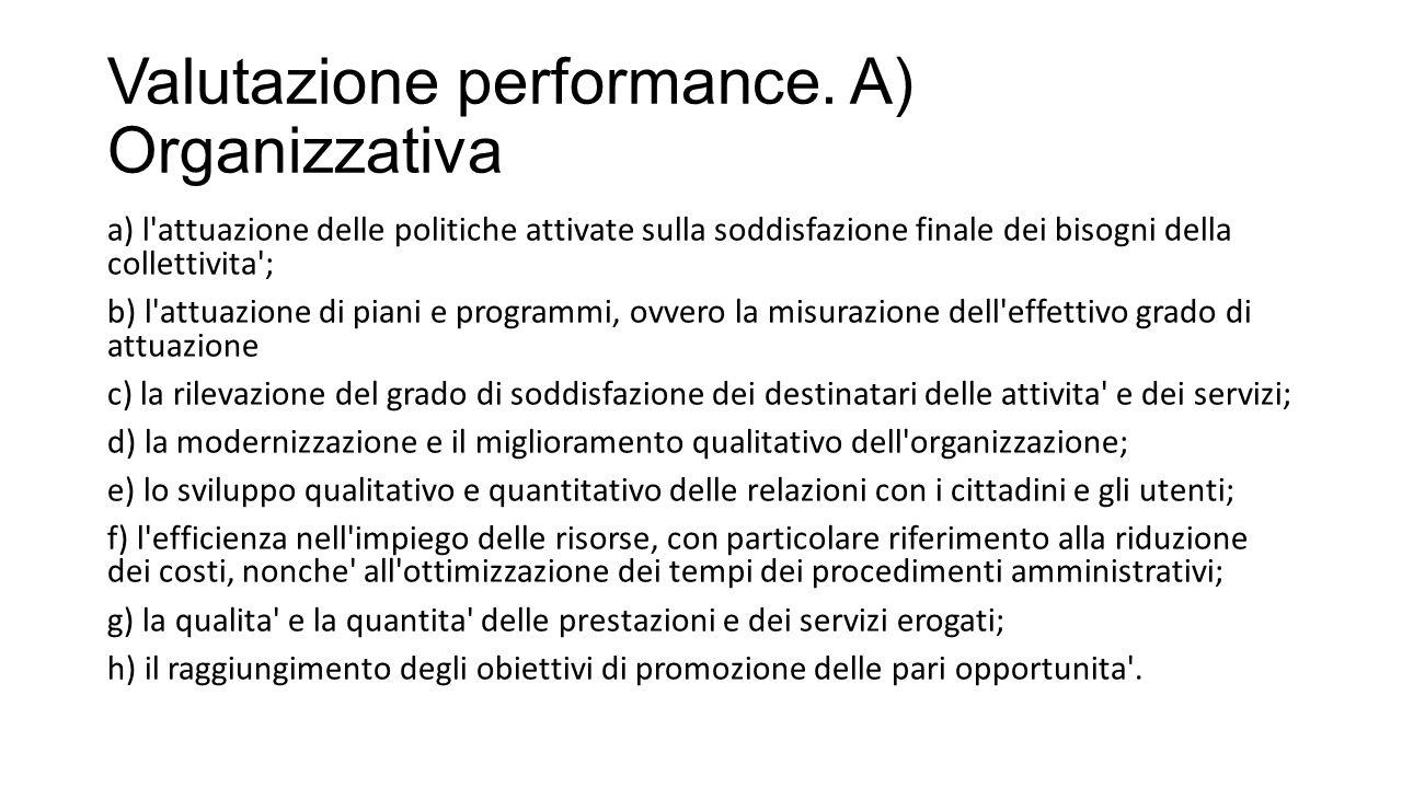 Valutazione performance. A) Organizzativa
