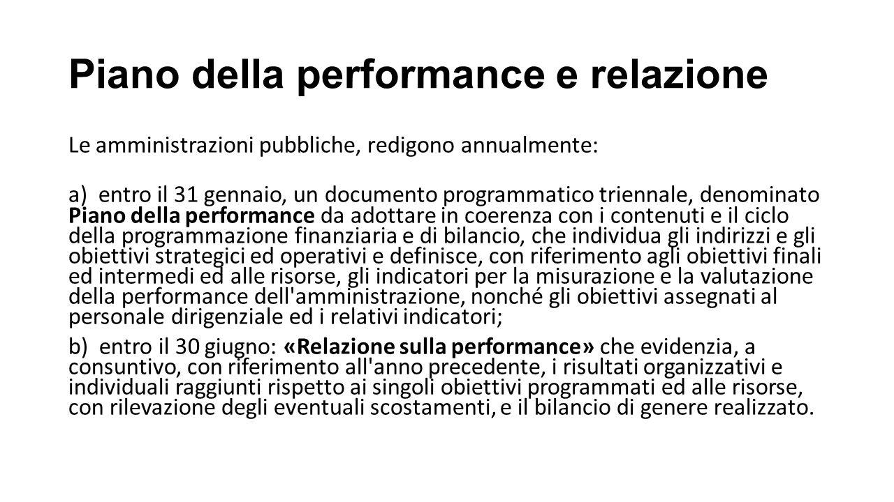 Piano della performance e relazione