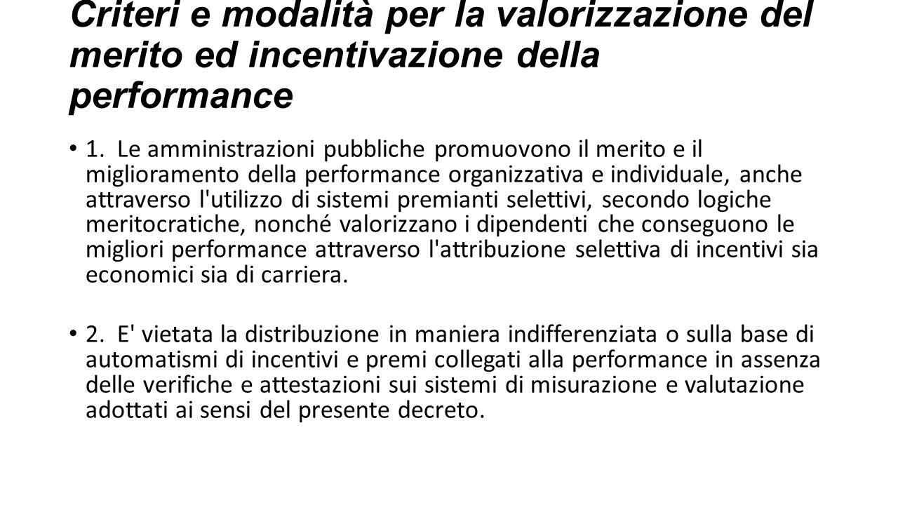 Criteri e modalità per la valorizzazione del merito ed incentivazione della performance
