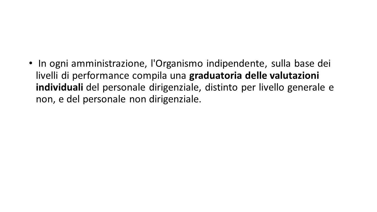 In ogni amministrazione, l Organismo indipendente, sulla base dei livelli di performance compila una graduatoria delle valutazioni individuali del personale dirigenziale, distinto per livello generale e non, e del personale non dirigenziale.