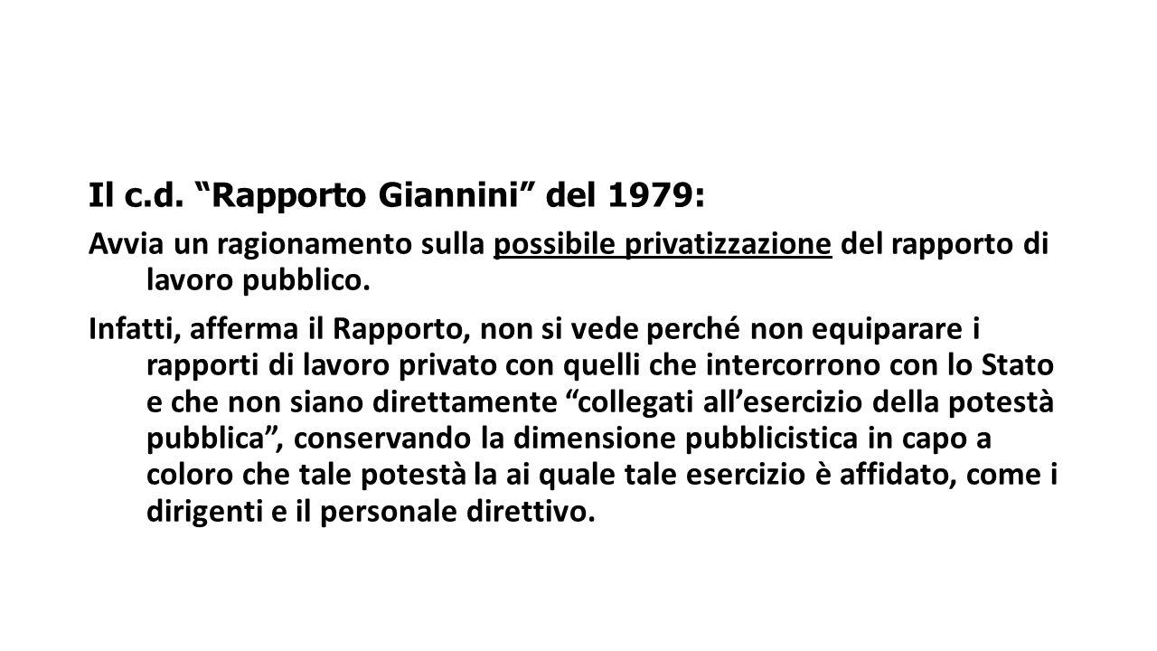 Il c.d. Rapporto Giannini del 1979: