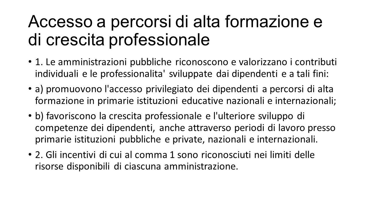 Accesso a percorsi di alta formazione e di crescita professionale