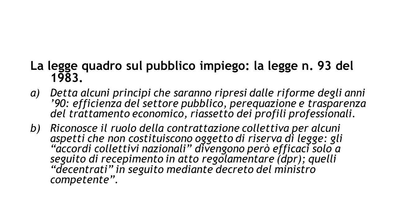 La legge quadro sul pubblico impiego: la legge n. 93 del 1983.