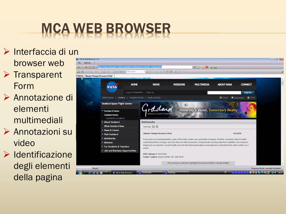 MCA WEB BROWSER Interfaccia di un browser web Transparent Form