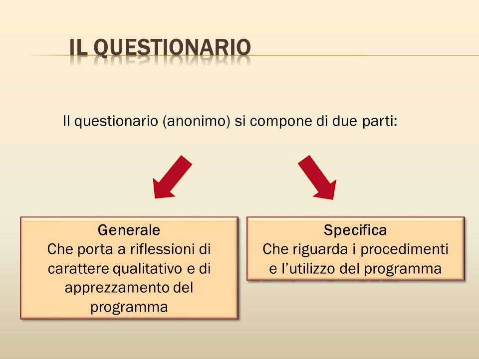il questionaRIO Il questionario (anonimo) si compone di due parti: