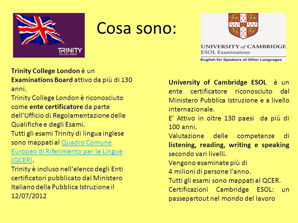Cosa sono: Trinity College London è un Examinations Board attivo da più di 130 anni.