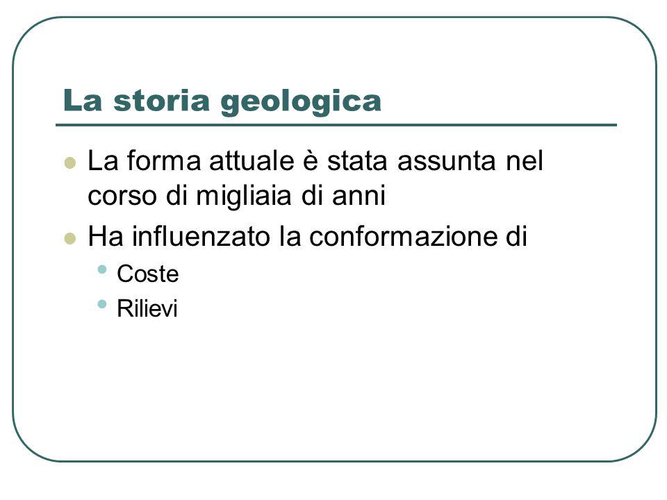 La storia geologica La forma attuale è stata assunta nel corso di migliaia di anni. Ha influenzato la conformazione di.