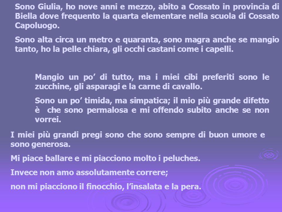 Sono Giulia, ho nove anni e mezzo, abito a Cossato in provincia di Biella dove frequento la quarta elementare nella scuola di Cossato Capoluogo.