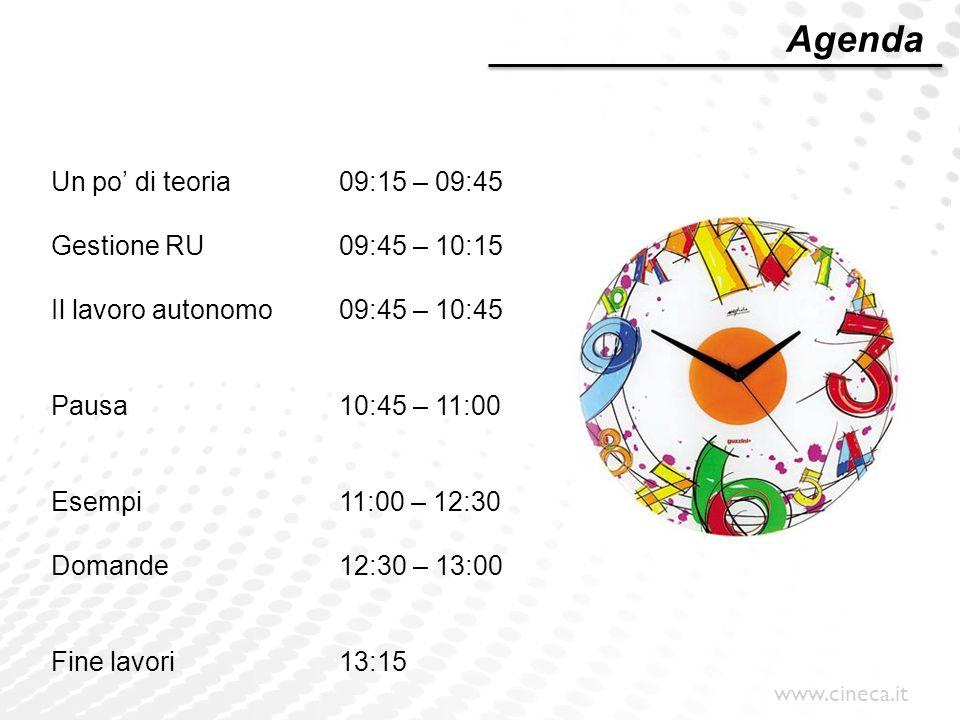 Agenda Un po' di teoria 09:15 – 09:45 Gestione RU 09:45 – 10:15