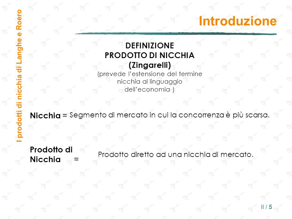 Introduzione DEFINIZIONE PRODOTTO DI NICCHIA (Zingarelli) Nicchia =